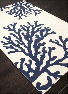 Coral Branch Out Area Rug - Navy Blue and White