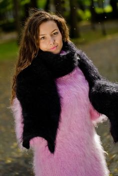 Tiffy Mohair Scarf Thick Fluffy Fuzzy Black T178 #Scarf