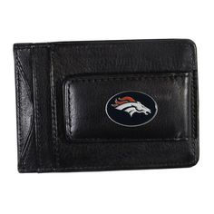Denver Broncos Black Leather Cash & Card Holder, Men's