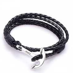 Leather Bracelet with Anchor Charm