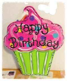 Birthday door hanger, cupcake door hanger, party door decor,  wreath, whimsical door hanger, wooden door hanger, Gift idea on Etsy, $35.00
