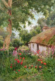 A Cottage Garden Art Print By Tom Clough A Cottage Garden By Tom Clough Is Printed With Premium Inks For Brilliant Color And Then Hand Stretched Over Museum Quality Stretcher Bars 60 Day Money Back Guarantee And Free Return Shipping Storybook Cottage, Cottage Art, Garden Cottage, Garden Painting, Garden Art, Landscape Art, Landscape Paintings, Country Scenes, Canvas Prints