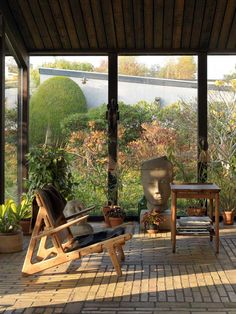 The late Børge Mogensen's 'Hunting Chair' - seen here in the conservatory of his home in Denmark.