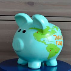 World Map Piggy Bank LARGE by WithHeartStudio on Etsy, $80.00