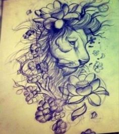 beautiful lion with lotus flowers