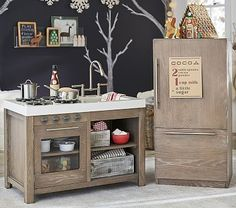Find modern playroom inspiration with Pottery Barn Kids' Modern Lodge Kitchen. Shop our Charlie Kitchen Collection for a rustic wooden play kitchen that will inspire pretend play. Diy Kids Kitchen, Kitchen Sets For Kids, Toy Kitchen, Best Play Kitchen, Toddler Play Kitchen, Kitchen Playsets, Barn Kitchen, Real Kitchen, Awesome Kitchen