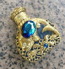 Vintage Crystal Glass Ormolu Filigree Perfume Bottle Czech Rhinestones Fish