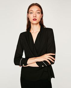 WRAP BLOUSE WITH TUXEDO COLLAR-View all-TOPS-WOMAN | ZARA United States