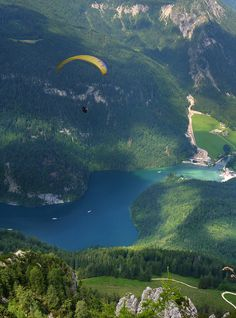 Paragliding along the Alpine mountains and Königssee, Germany