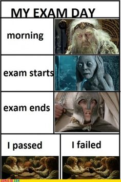 Exams, explained by LOTR characters. haha