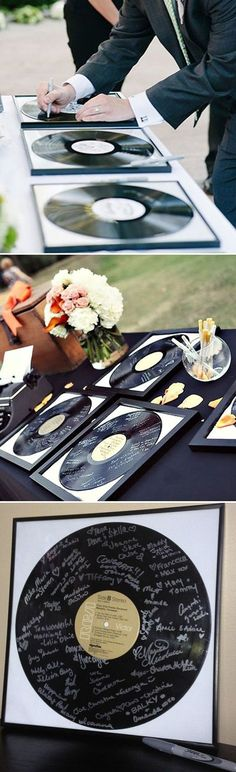 ||@snazzysoul || unique record wedding guest books ideas