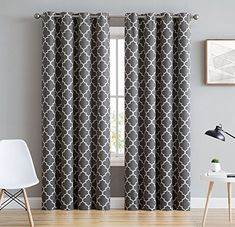 HLC.ME Lattice Print Thermal Insulated Blackout Window Curtain Panels, Pair, Chrome Grommet Top, Grey #HLC.ME #Lattice #Print #Thermal #Insulated #Blackout #Window #Curtain #Panels, #Pair, #Chrome #Grommet #Top, #Grey
