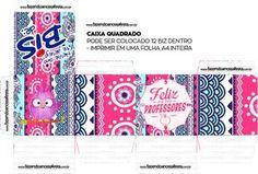 Caixa Quadrada Dia dos Professores Coruja Rosa