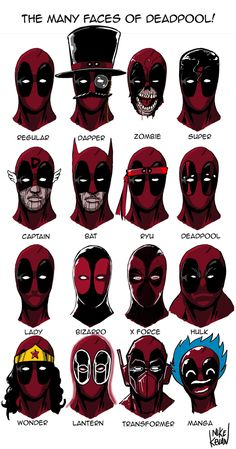 The many faces of Deadpool! Weirdly I drew a lot of these before the actual version of these appeared I the marvel universe.
