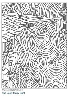 nuit-etoilee-van_gogh Paintings Coloring pages for adults and teenagers free high quality Documents D'art, Starry Night Art, Starry Nights, Art Handouts, Van Gogh Art, Art Worksheets, Ecole Art, Colouring Pages, Free Coloring