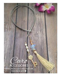 Scarf Jewelry, Tassel Jewelry, Diy Jewelry, Beaded Jewelry, Jewelery, Handmade Jewelry, Jewelry Necklaces, Jewelry Design, Leather Necklace