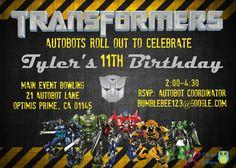 Transformer Birthday Invitation Transformer Birthday Party