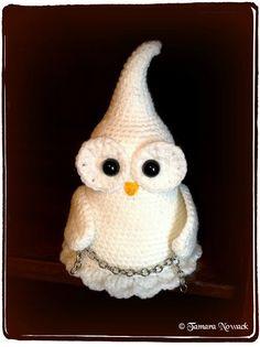 Ghostette the ghost owl amigurumi PDF crochet by Nowacrochet