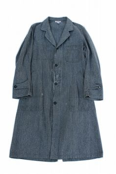 French vintage work coat/black chambray cotton/salt and pepper/atelier coat/long/chore coat/Bragard/268
