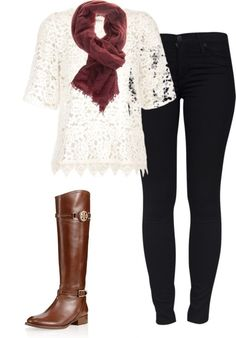 Fall tones of brown scarf and boots with black jeans & a white lace shirt make it work for fall // Mizz Fashionista Fall Winter Outfits, Autumn Winter Fashion, Looks Style, Style Me, Casual Chique, Look Fashion, Womens Fashion, Fashion Models, Paris Fashion