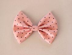 pink and black polka dots hair bow