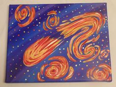 Original One of a Kind Outer Space Comet painting available at yumjellydonuts.etsy.com  #etsy #original #art #space #outerspace #comet #starrynightinspired