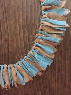 Burlap & Blue Fabric Garland Banner / Rustic Theme by HomeTidbits