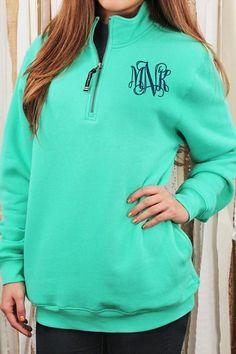 Charles River Quarter Zip Sweatshirt (Men's Cut), Mint #9359 *Personalize It