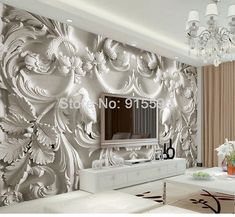 Quality beibehang Custom photo wallpaper large mural wall stickers classic white European relief TV wall murals papel de parede with free worldwide shipping on AliExpress Mobile Living Room Paint, Living Room Bedroom, Living Room Decor, Bedroom Decor, Wall Decor, Bedroom Murals, Living Room Background, Tv In Bedroom, Wall Wallpaper