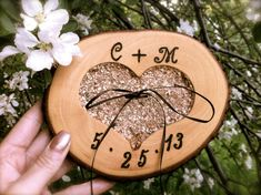 Rustic wedding ring bearer pillow holder wooden heart country fall on Etsy, $31.00