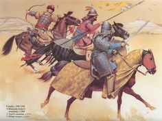 Mamluk (slave) cavalry with short bow, lance, and long sword.