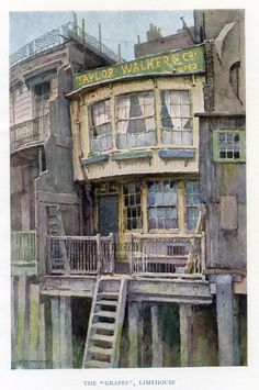 "The ""Grapes"", Limehouse. By Ernest Haslehust - 1920 - old antique vintage print - art picture prints of London Victorian London, Vintage London, Old London, London Art, London Pubs, Victorian Life, London Photos, Antique Maps, Antique Prints"