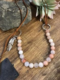 Casual Western Pink and White Jasper Beaded Leather Necklace Leather Necklace, Boho Necklace, Leather Jewelry, Fashion Necklace, Boho Jewelry, Jewelry Crafts, Beaded Jewelry, Jewelery, Handmade Jewelry