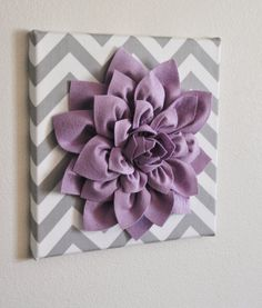 Wall Flower -Lilac Dahlia on Gray and White Chevron