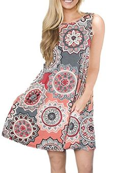 bbaf8f13895 BaiShengGT Women s Summer Sleeveless Damask Print Pocket Loose T-Shirt Dress  at Women s Clothing store