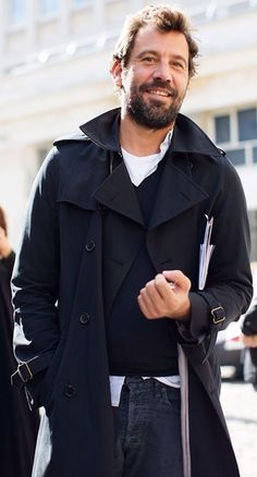 Black Trench Coat, Black Sweater, White Tee, and Black Jeans. Men's Fall Winter Street Style Fashion, NYC.