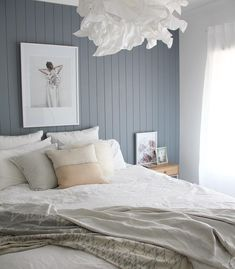 easycraft tongue and groove wall panelling in white bedroom with blue feature wall Home Bedroom, Bedroom Decor, Bedroom Ideas, Master Bedroom, Bedroom Wall Ideas For Adults, Wall Decor, Bedroom Wall Colour Ideas, Bedroom Wall Texture, Wall Colours