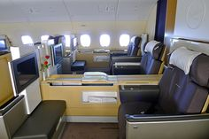 Lufthansa First Class cabin on the Airbus Private Jet Interior, Airport Lounge, Aviation Industry, Kabine, Commercial Aircraft, First Class, Aeroplanes, Cruise Travel, Aviation