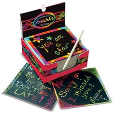 Melissa & Doug Scratch Art Rainbow Mini Notes (125 ct) With Wooden Stylus