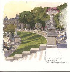 PO 49 - Jardin du Luxembourg, watercolor by Fabrice Moireau Building Illustration, Garden Illustration, Fabrice Moireau, Art Parisien, Image Paris, History Posters, Paris Painting, Luxembourg Gardens, Paris Art