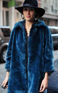 alexa chung- cobalt blue faux fur coat, hat