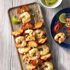 Skewered Ginger Shrimp With Plums Exps Sdjj19 167537 C02 07 2b 1 Shrimp Recipes Easy, Fish Recipes, Seafood Recipes, Dinner Recipes, Cooking Recipes, Grill Recipes, Dinner Ideas, Kabob Recipes