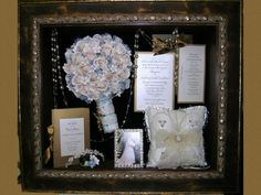 Shadow Box idea = put wedding jewelry in with bouquet