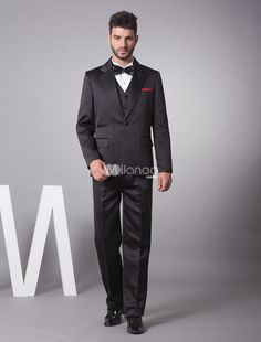 Handsome Black Satin Blending Men\s Suit. Handsome Black Satin Blending Men\s Suit. See More Groom Suits and Tuxedos at http://www.ourgreatshop.com/Groom-Suits-Tuxedos-C918.aspx