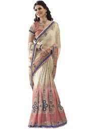 Off White coloured embroidered saree for women by Ashika. Made from chiffon, this saree measures 5.5 m in length, and comes with unstitched blouse piece of 0.8 m.
