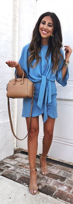 #spring #outfits woman wearing blue trench mini dress. Pic by @dressupbuttercup