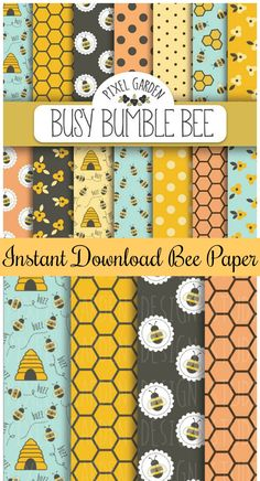 Bee Digital Paper. Honeycomb Scrapbook Paper. Bumble Bee Digital Background. Honeybee, Honey, Hive, Summer Papers in Turquoise, Pink, Yellow #ad #Etsy #bee #bee #instantdownloadshopstyleit.com