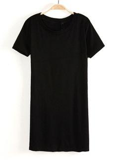 Black Round Neck Short Sleeve Slim Bodycon Dress 0.00