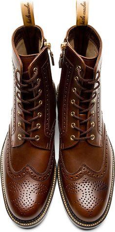 Brown Leather #BrogueBoots #boots #alexanderMcqueen