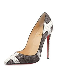 X28SC Christian Louboutin So Kate Python Red Sole Pump, Gray/White
